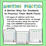 Math Facts:  Addition Practice and Tests for +0 through +12