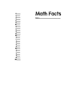 Math Facts Basic Recording Sheets
