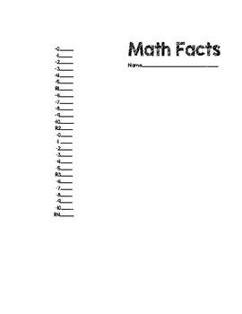 Math Facts Basic Recording Sheets
