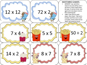 Math Facts Bingo Centers Activity