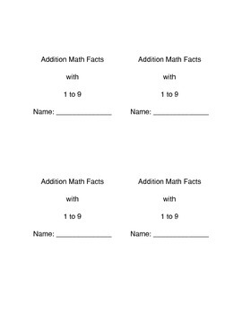 Math Facts Booklet: 1-9 Addition