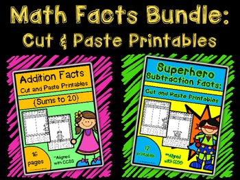 Math Facts Bundle: Cut and Paste Printables {Addition & Subtraction}
