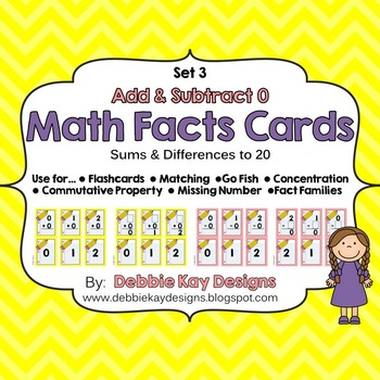 Math Facts Cards - Add & Subtract 0