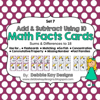 Math Facts Cards - Add & Subtract Using 10