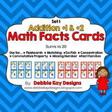 Math Facts Cards - Addition +1 and +2