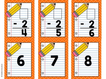 Math Facts Cards - Subtraction -1 and -2