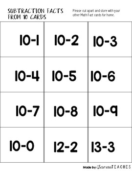 Math Facts Cards Subtraction within 10