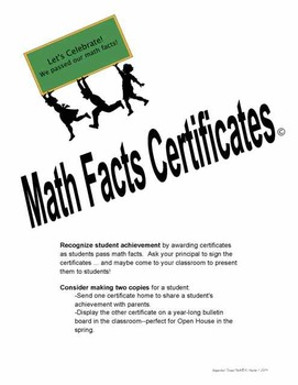 Math Facts Certificates