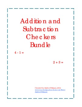Math Facts Checkers Bundle (addition, subtraction, addition & subtraction)