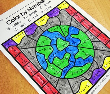 Math Facts Color by Number Additon and Subtraction