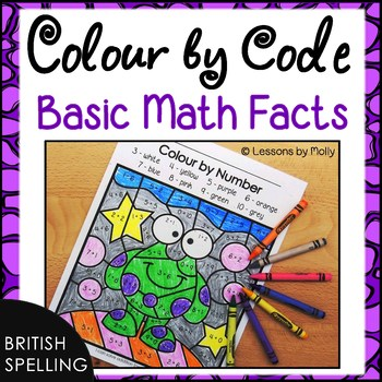 Math Facts Colour by Number Additon and Subtraction (British Spelling)