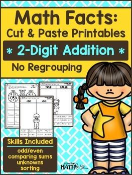 Math Facts: Cut & Paste Printables - 2-Digit Addition {No