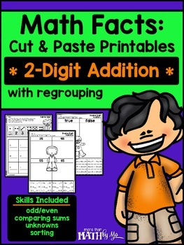 Math Facts: Cut & Paste Printables - 2-Digit Addition {Regrouping}