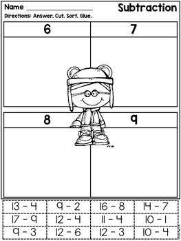 Math Facts: Cut & Paste Printables - Addition & Subtraction {Winter}