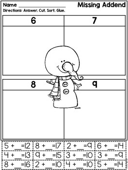 Math Facts: Cut & Paste Printables-Addition & Subtraction {Winter}Sample Freebie