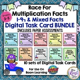 Multiplication Facts Digital Task Cards AND Paper Math Fac