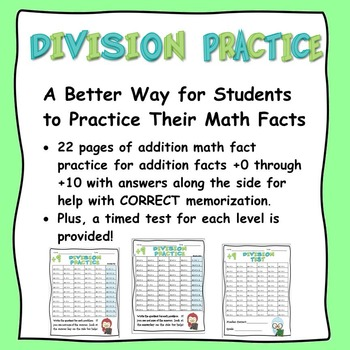 Math Facts:  Division Practice and Tests for ÷1 through ÷1