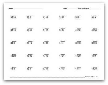 Math Facts Worksheets: Division by 3 and 4 (30 per page, 1:30 minutes)