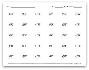 Math Facts Worksheets: Division by 5 and 6 (30 per page, 1:30 minutes)