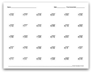 Math Facts Worksheets: Division by 7 and 8 (30 per page, 1:30 minutes)