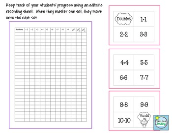 Math Facts EASY Bundle with Editable Recording Sheets