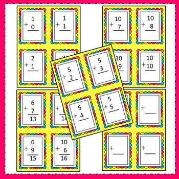 Addition Math Facts Flash Cards ~ (0-10, sums up to 20) Great for math centers!