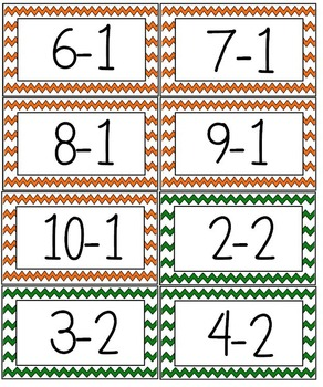 Math Facts Flash Cards Subtraction