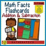 Math Facts Addition & Subtraction Flashcards 0-10 with Center Worksheets