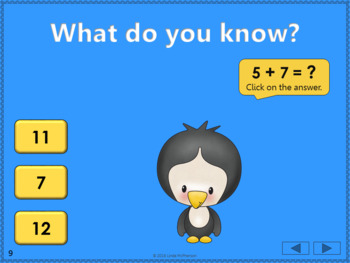 Math Facts Fluency +5 Interactive Addition Game {Dancing Penguin}