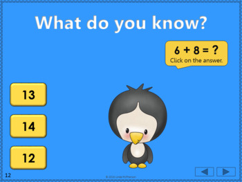 Math Facts Fluency +8 Interactive Addition Game {Dancing Penguin}