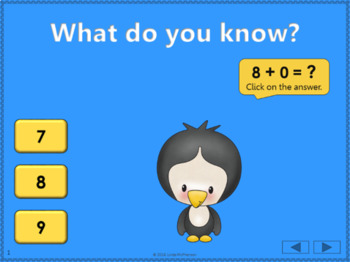 Math Facts Fluency +9 Interactive Addition Game {Dancing Penguin}