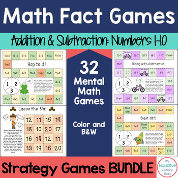 Math Fact Fluency Bundle: Addition and Subtraction Strategy Games