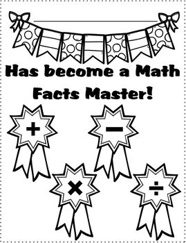 Math Facts Fluency Certificates - Customizable
