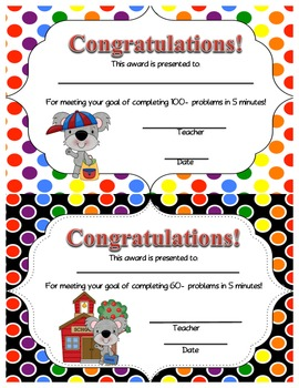 Math Facts Fluency- Differentiated Assessment System