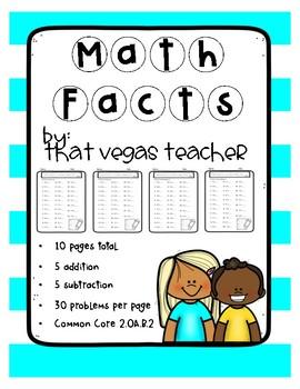 Math Facts - Fluency Practice - 2.OA.B.2 - 10 Pages - B&W