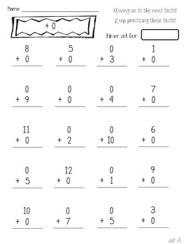 Math Facts Fluency tests Addition and Subtraction