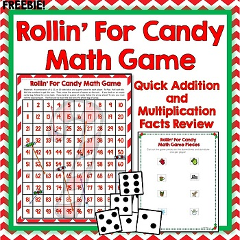 Math Facts Game, Addition, Multiplication, 100's Chart Review, Holiday Themed
