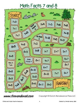 Math Facts Game Board in color
