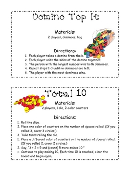 Math Facts Game Packet