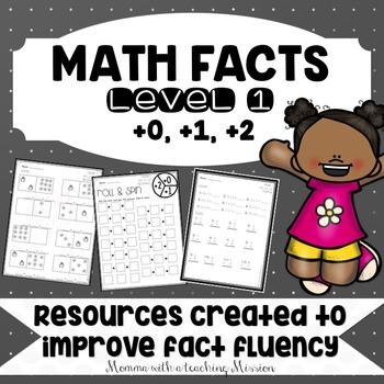 Math Facts Level 1 Fact Fluency +0, +1, +2