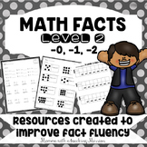Math Facts Level 2 Fact Fluency -0, -1, -2