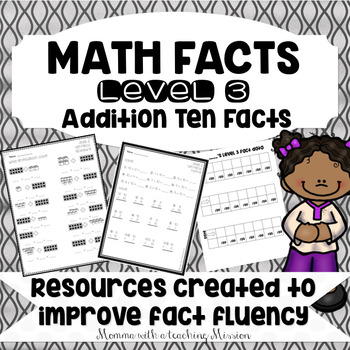 Math Facts Level 3 Fact Fluency Adding 10 facts