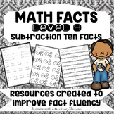 Math Facts Level 4 Fact Fluency Subtracting 10 facts