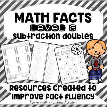 Math Facts Level 6 Fact Fluency Subtraction Doubles facts