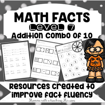 Math Facts Level 7 Fact Fluency Addition Combinations of 10 facts