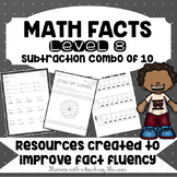 Math Facts Level 8 Fact Fluency Subtraction Combinations of 10 facts