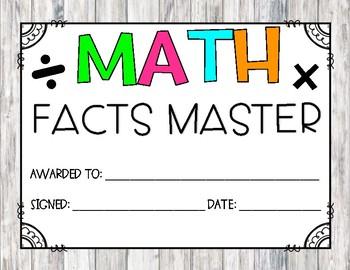 Math Facts Master Award