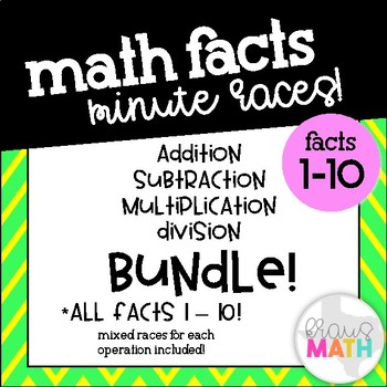 Math Facts Minute Races: Addition, Subtraction, Multiplication & Division (1-10)