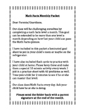 Math Facts Monthly Packet Letter for Parents!