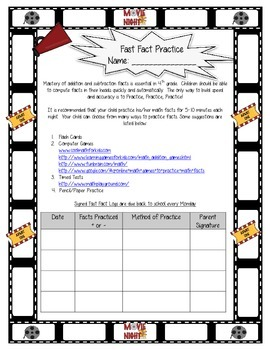 Math Facts Fluency - Movie Theme